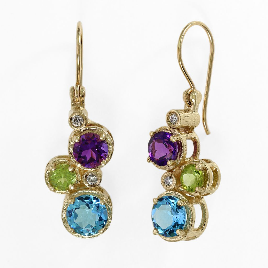 140-350 - Effy 14K Gold 3.70ctw Multi Gemstone Cluster Drop Earrings
