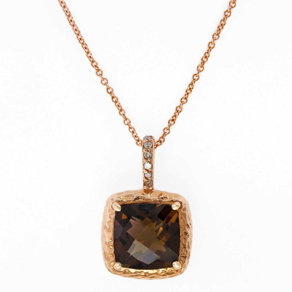 "140-353 - Effy 14K Rose Gold 3.03ctw Smoky Quartz & Diamond Pendant w/ 18"" Chain"