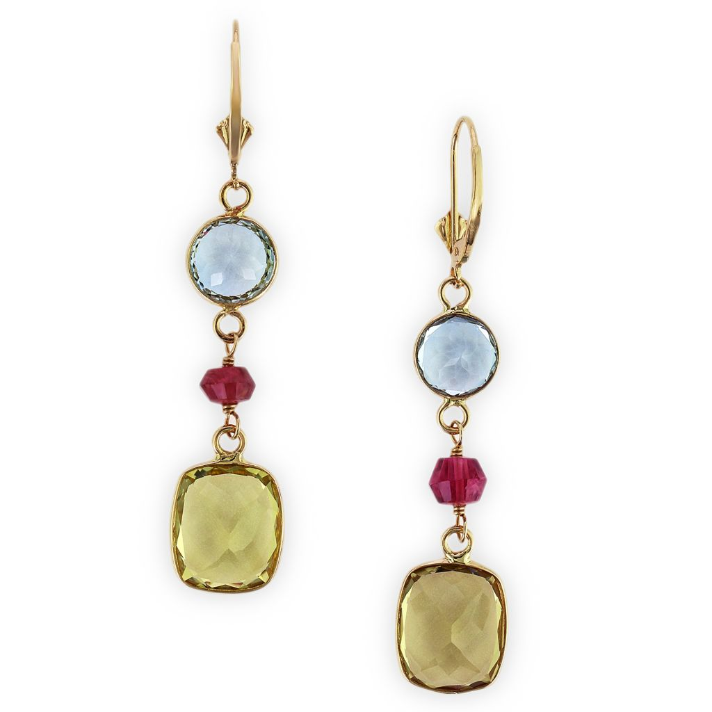 140-361 - Effy 14K Gold 11.60ctw Blue Topaz, Lemon Quartz & Pink Tourmaline Drop Earrings