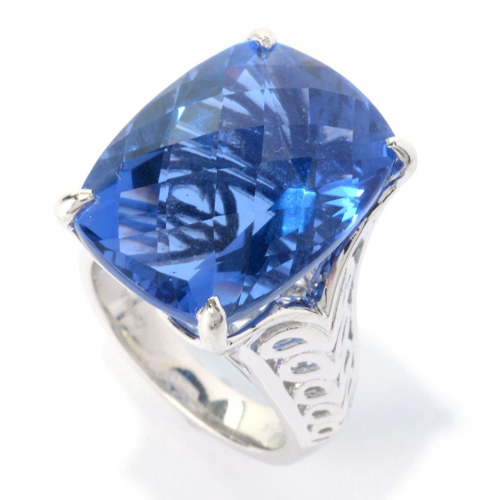 140-364 - Gem Insider Sterling Silver 20.00ctw Cushion Shaped Fluorite Fancy Shank Ring