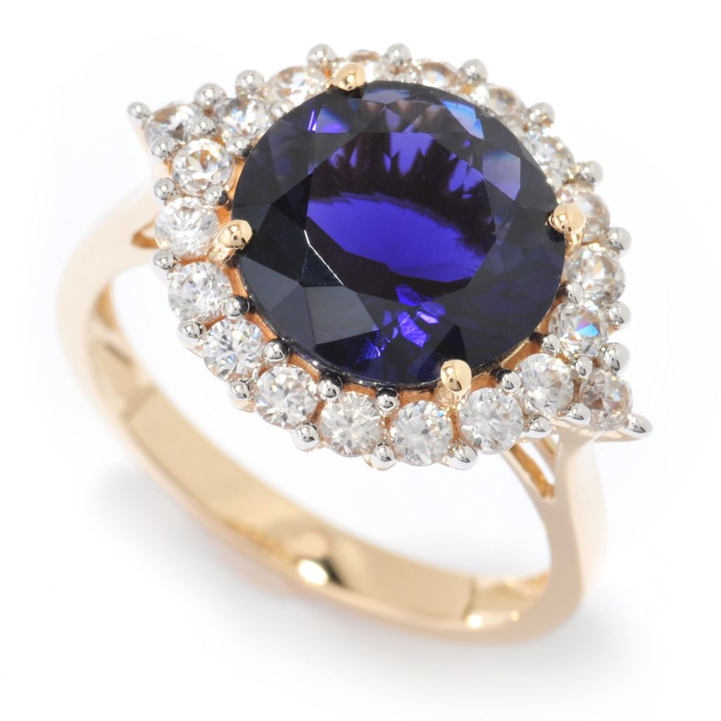 140-365 - Gem Treasures 14K Gold 3.01ctw Iolite & White Zircon Halo Ring