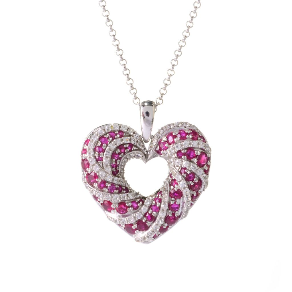 140-366 - Gem Treasures Sterling Silver Gemstone & White Sapphire Heart Pendant w/ Chain