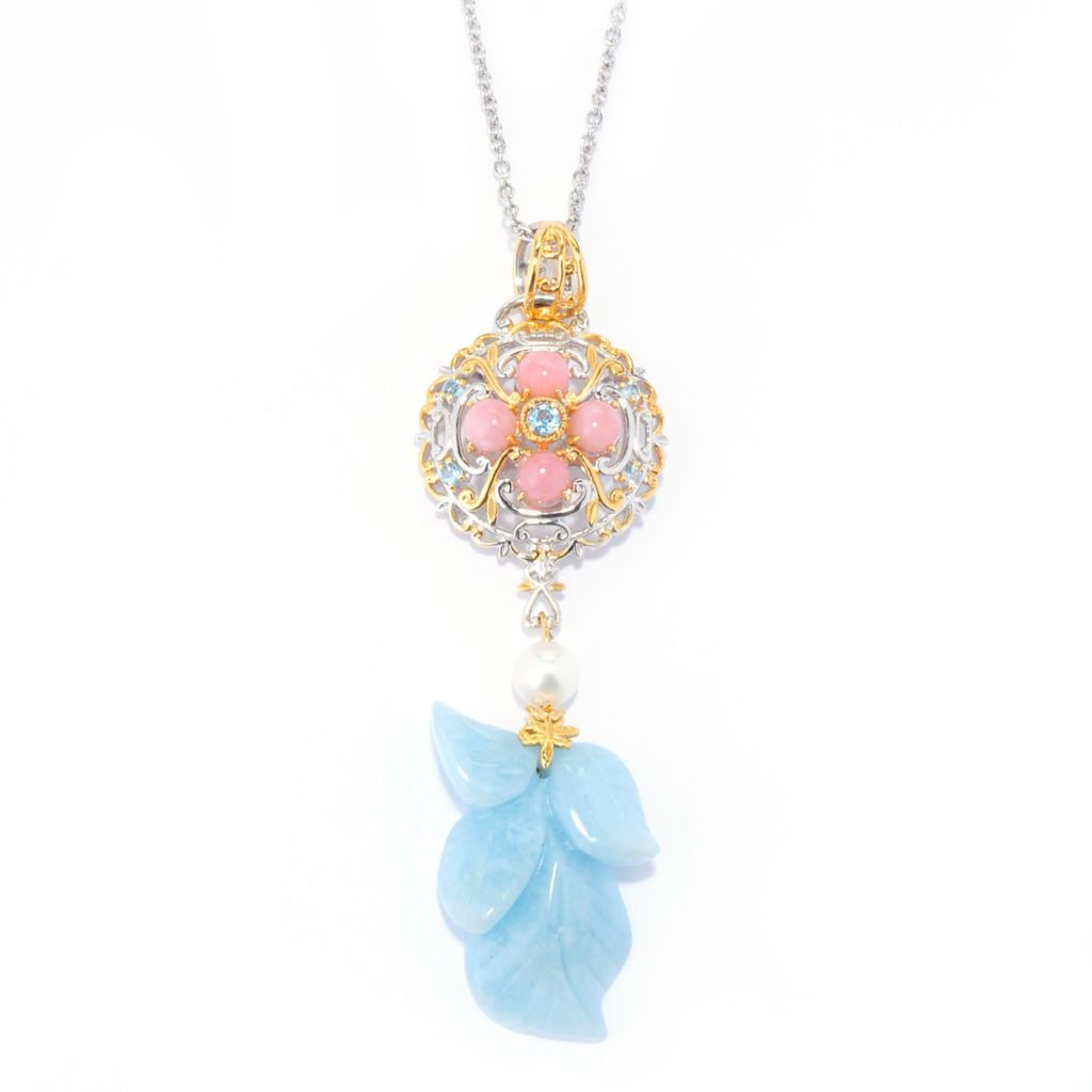 140-367 - Gems en Vogue 26.5 x 18.5mm Carved Aquamarine Leaf & Multi Gem Pendant w/ Chain