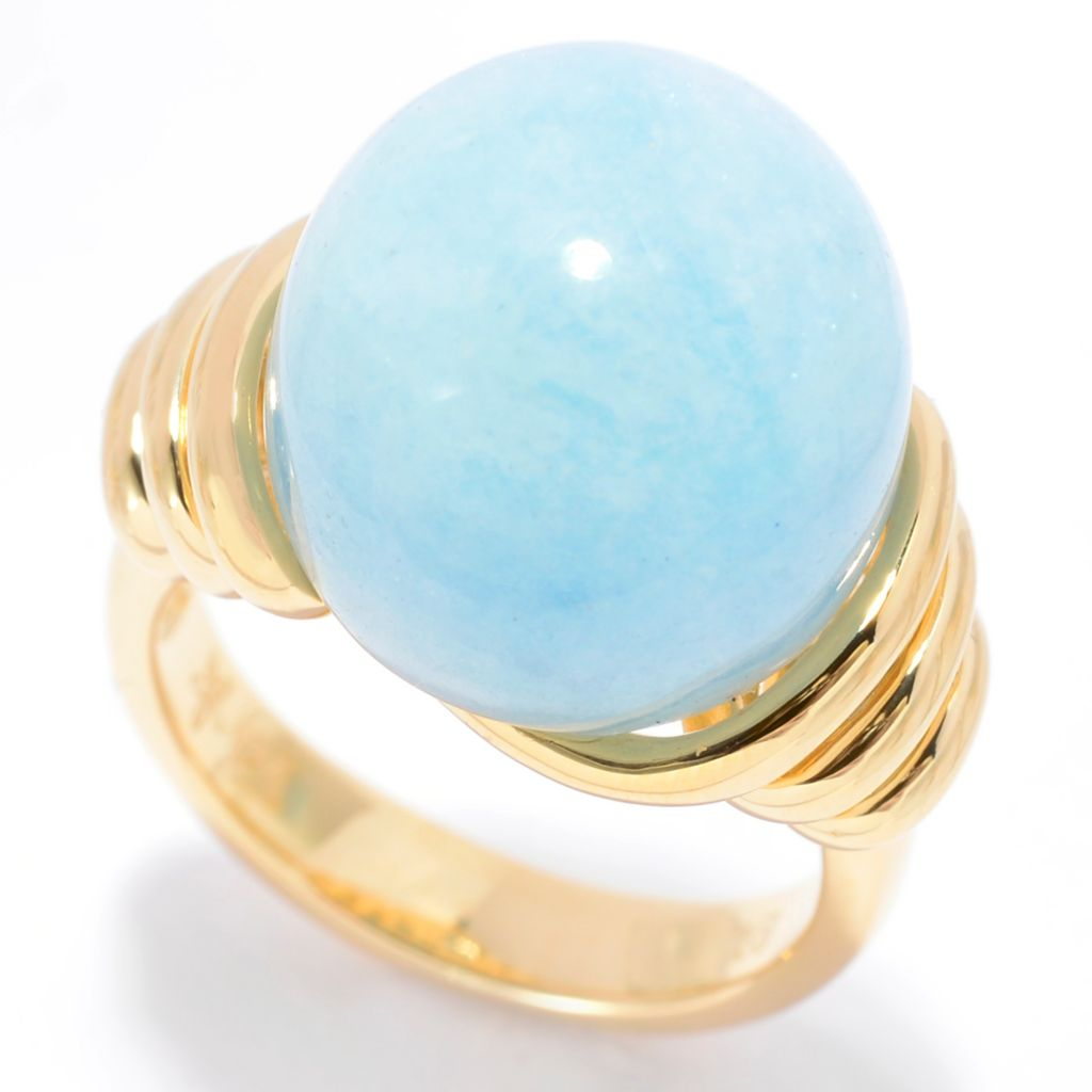 140-371 - Michelle Albala 14mm Aquamarine Ribbed Shank Ball Ring