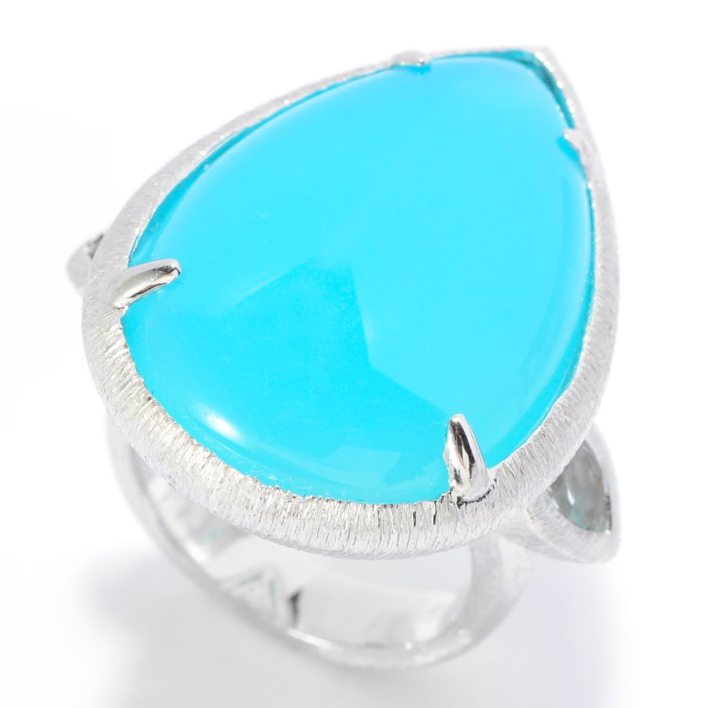 140-372 - Michelle Albala Sterling Silver 26 x 18mm Chalcedony & White Topaz Ring