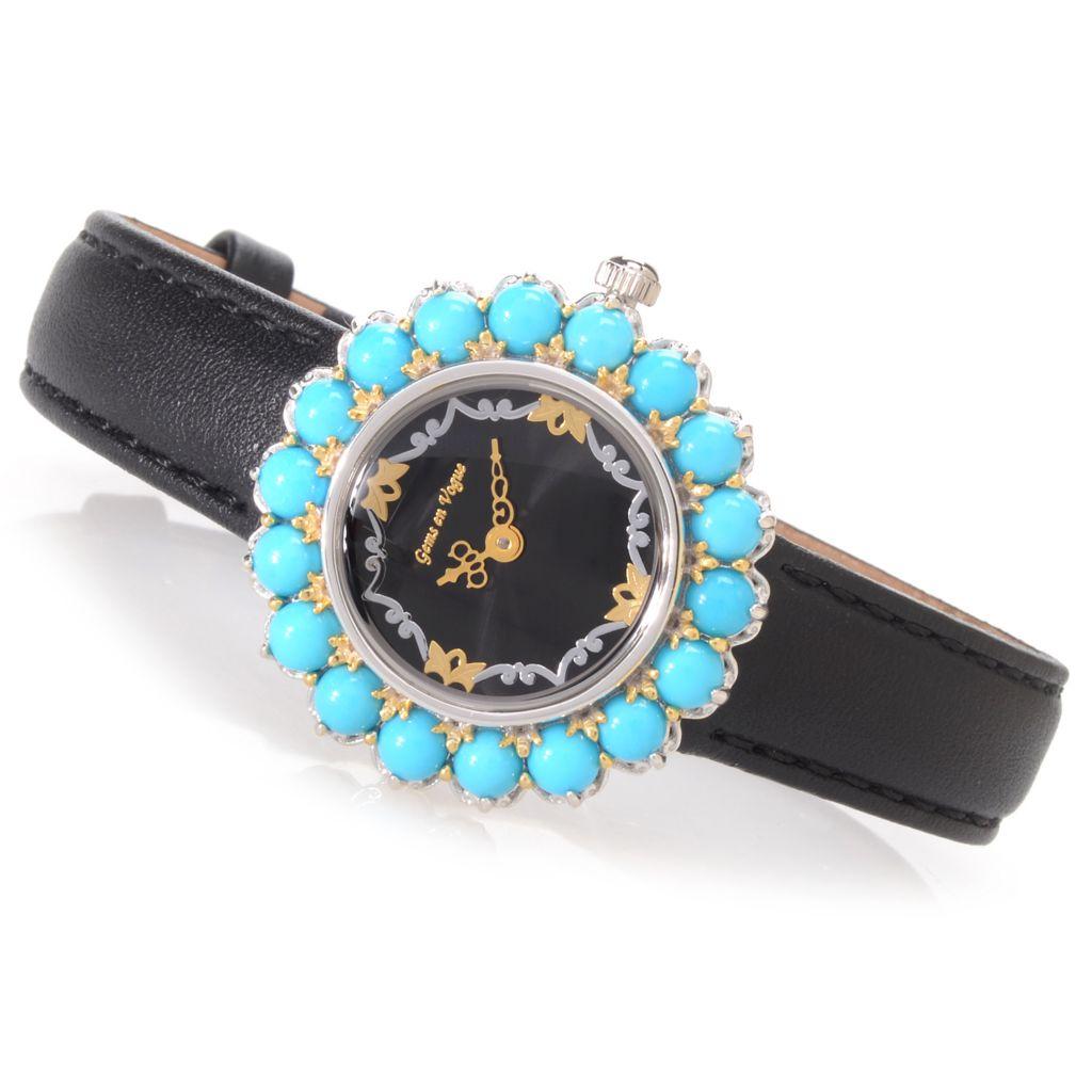 140-374 - Gems en Vogue Sleeping Beauty Turquoise Leather Strap Watch
