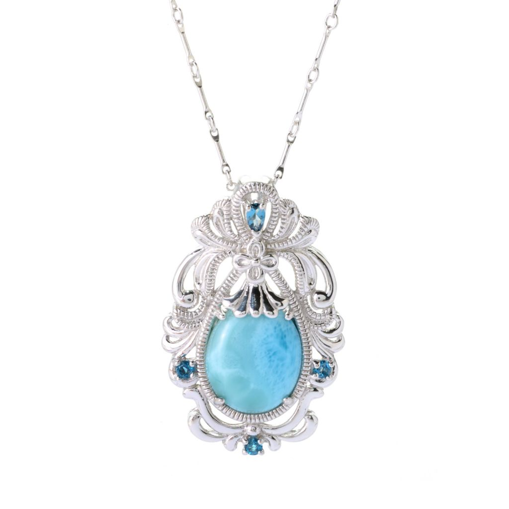 "140-375 - Gem Insider Sterling Silver 18 x 15mm Larimar & London Blue Topaz Pendant w/ 20"" Chain"