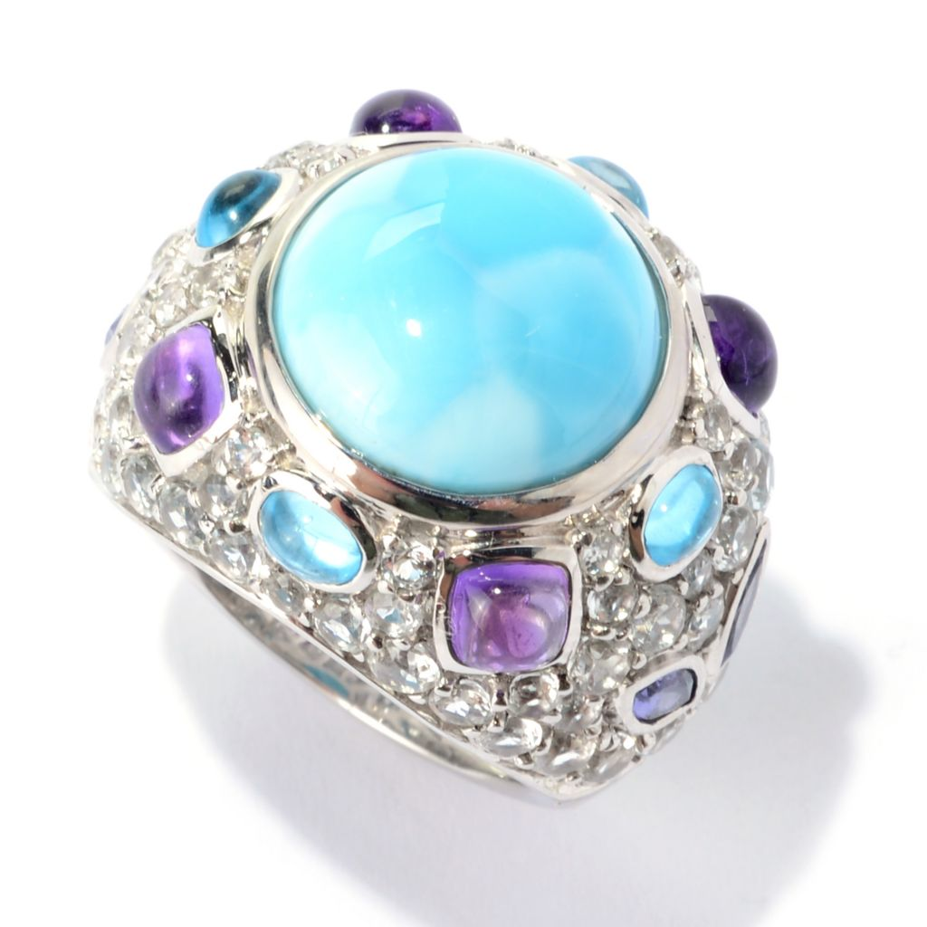 140-376 - Gem Insider Sterling Silver 13mm Larimar & Multi Gemstone Cluster Ring