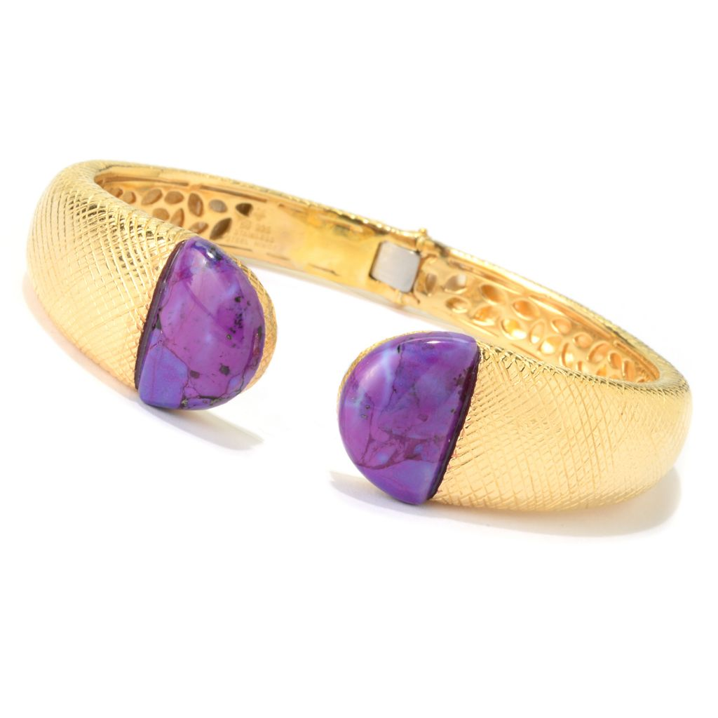 "140-378 - Michelle Albala 7.5"" 18 x 12mm Purple Kingman Mohave Turquoise Cuff Bracelet"