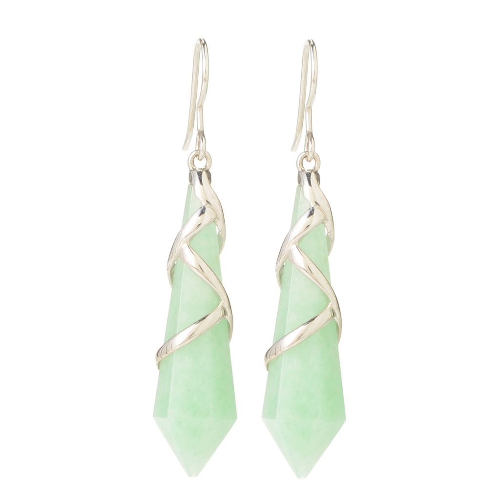 "140-392 - JOYA by Judy Crowell Sterling Silver 2.5"" 35 x 10mm Elongated Gemstone Drop Earrings"