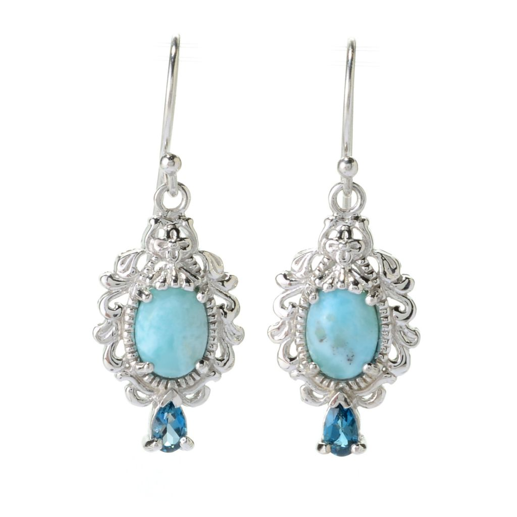 "140-393 - Gem Insider Sterling Silver 1.25"" Larimar & London Blue Topaz Drop Earrings"