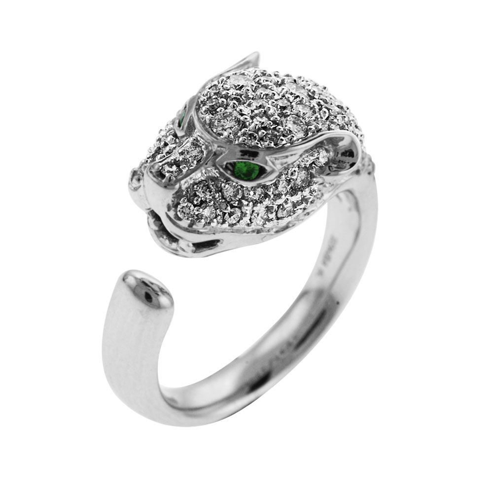 140-394 - Sonia Bitton Galerie de Bijoux 14K White Gold 4.08ctw Diamond & Tsavorite Panther Ring