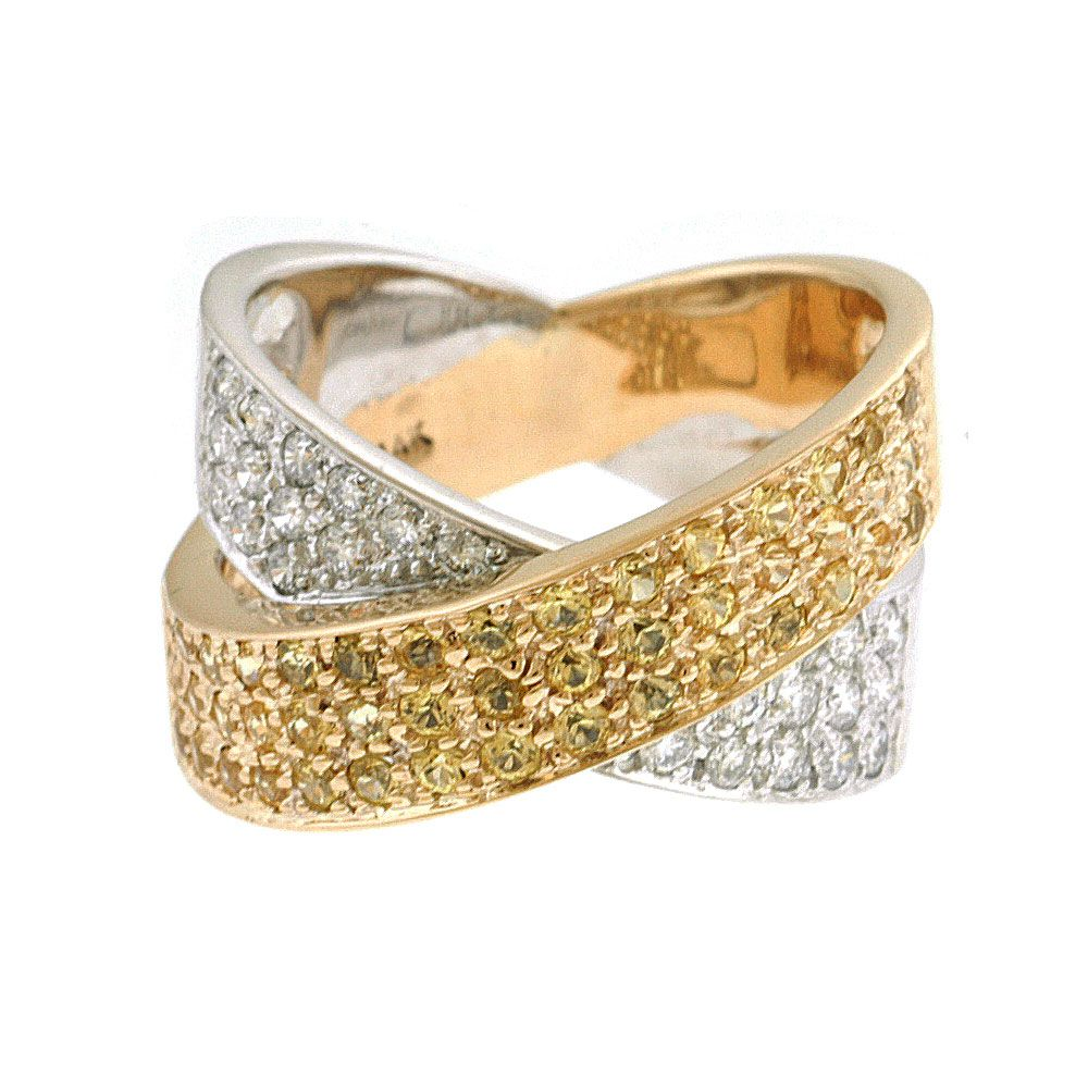 140-399 - Sonia Bitton Galerie de Bijoux 14K White & Yellow Gold 1.53ctw Diamond & Yellow Sapphire Ring