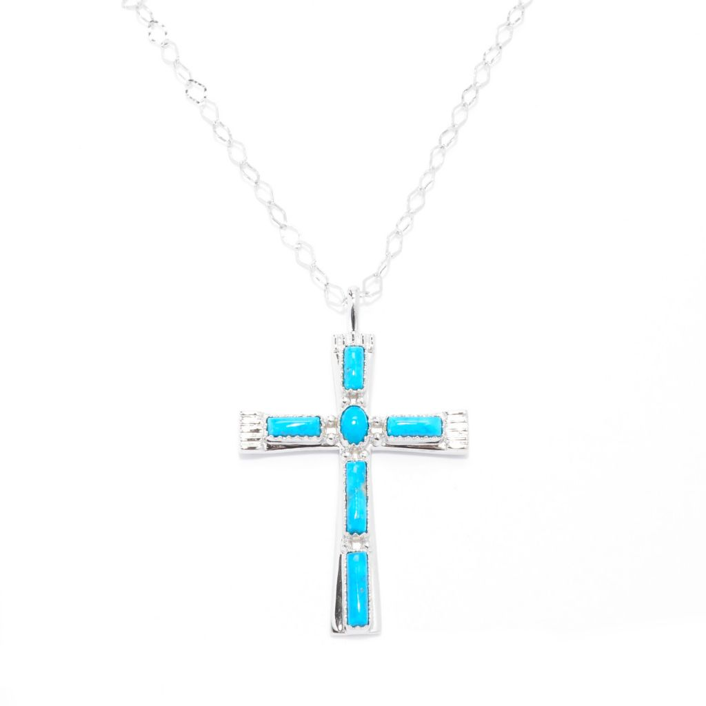 "140-417 - Gem Insider Sterling Silver Kingman Turquoise Cross Pendant w/ 18"" Chain"