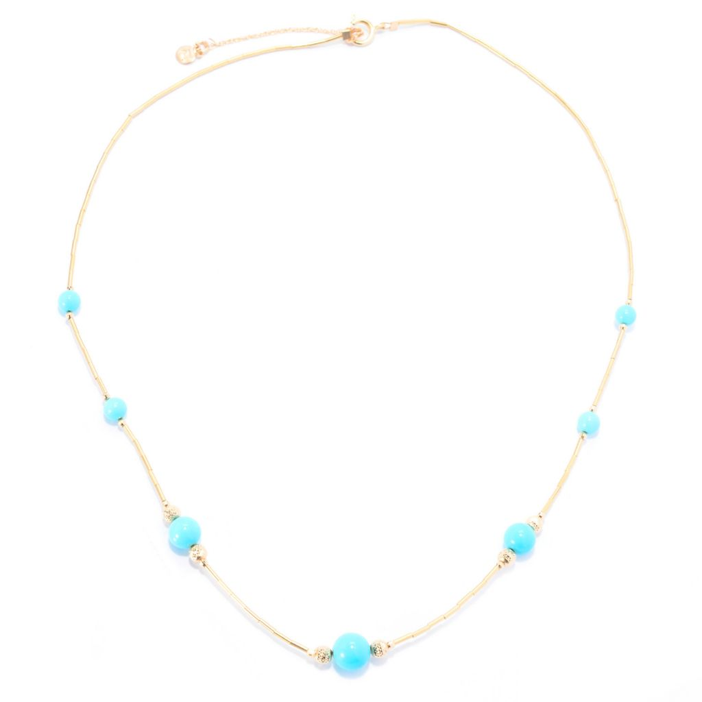 "140-418 - Gem Insider 14K Gold 17.75"" Nevada Lone Mountain Turquoise Bead Necklace"
