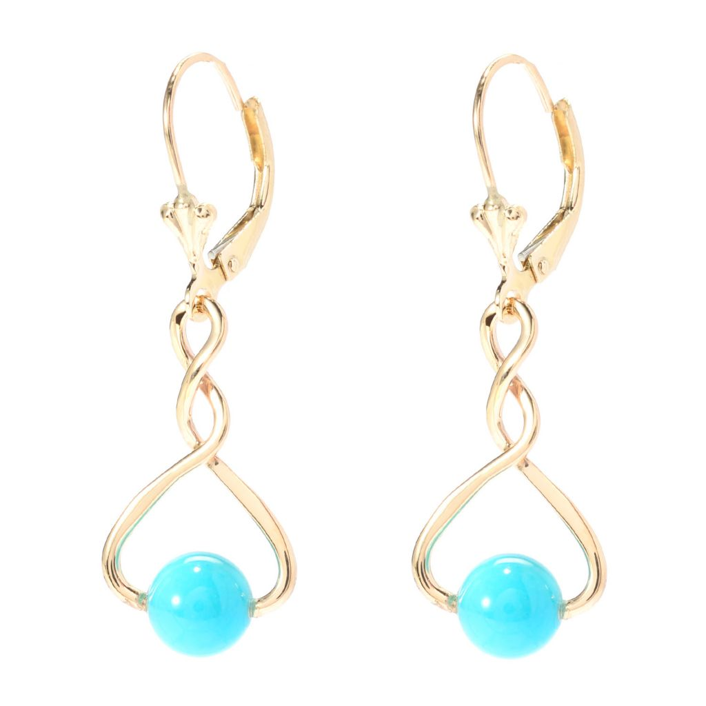 "140-419 - Gem Insider 14K Gold 2"" Nevada Lone Mountain Turquoise Drop Earrings"