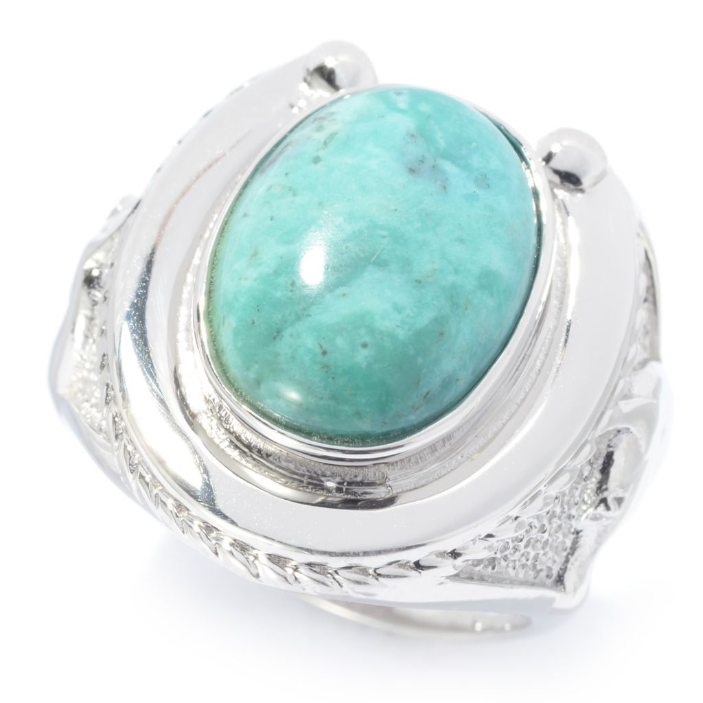 140-420 - Gem Insider Sterling Silver 14 x 10mm Colorado Cripple Creek Turquoise Ring