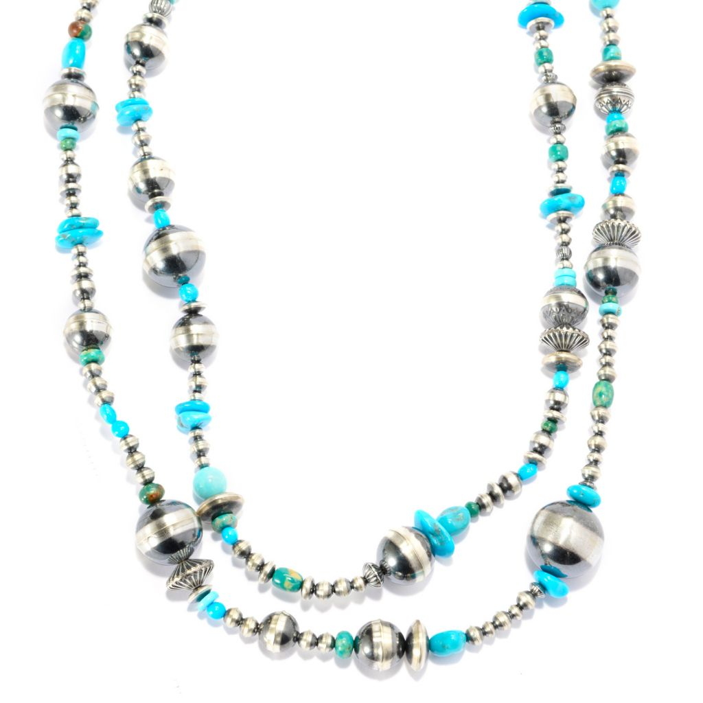 "140-421 - Gem Insider Sterling Silver 59"" Multi Shape American Turquoise Beaded Necklace"