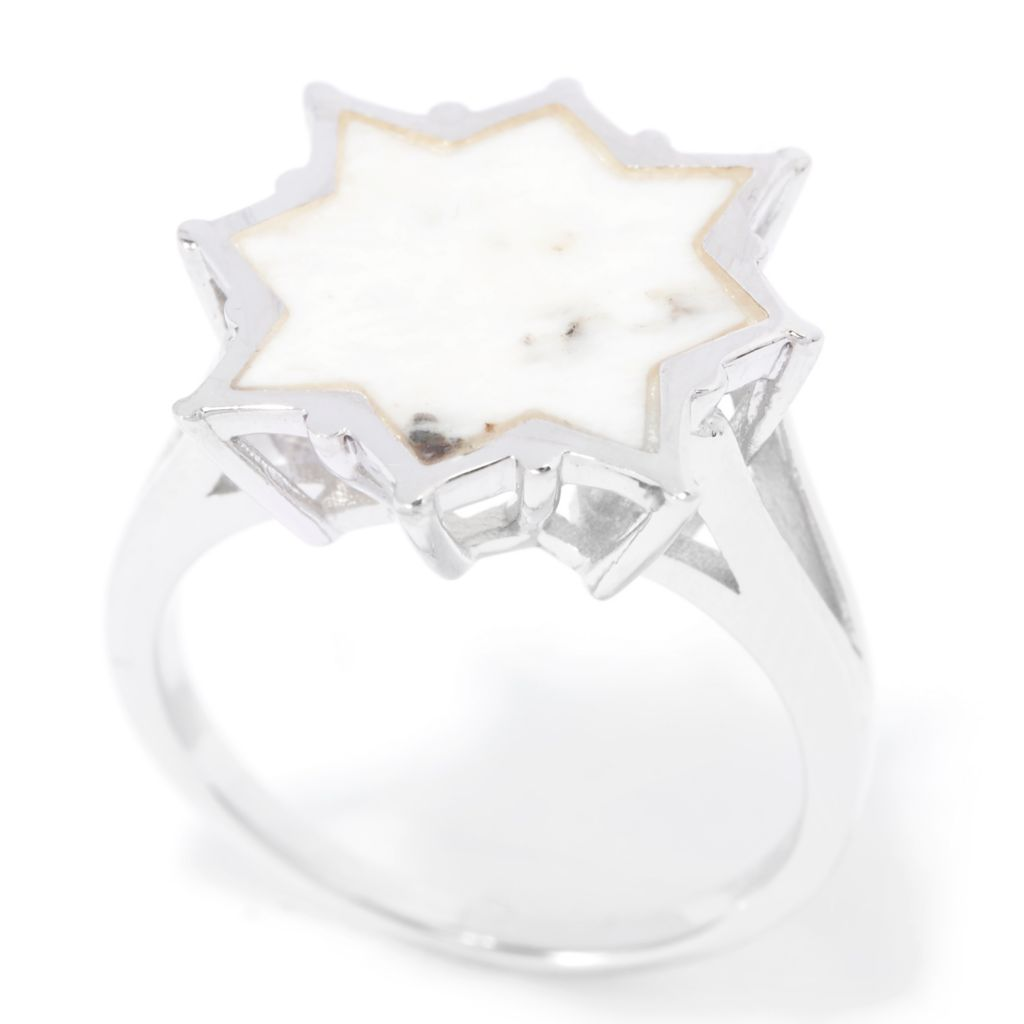 140-422 - Gem Insider Sterling Silver 13mm White Buffalo Calcite Quartz Star Ring