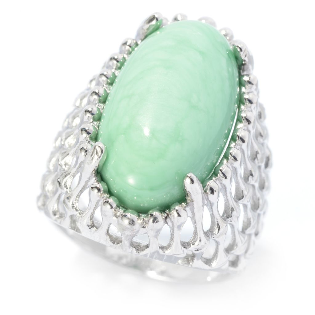 140-423 - Gem Insider Sterling Silver 19 x 10.5mm Virginia Variscite Wide Band Ring