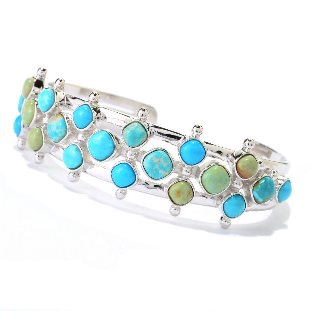 140-424 - Gem Insider Sterling Silver American Turquoise Three-Row Cuff Bracelet