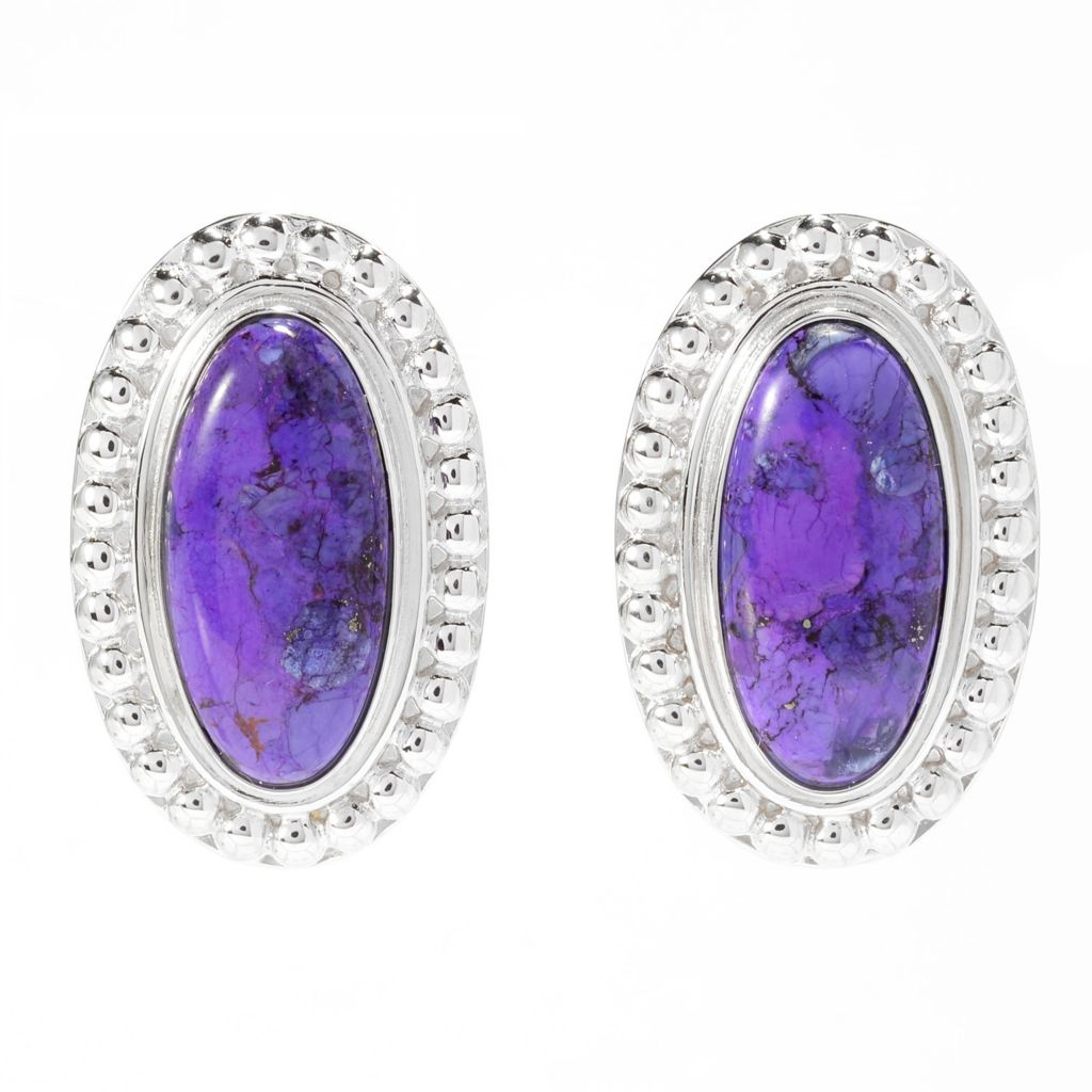 140-425 - Gem Insider Sterling Silver 21 x 10mm Purple Mohave Turquoise Stud Earrings
