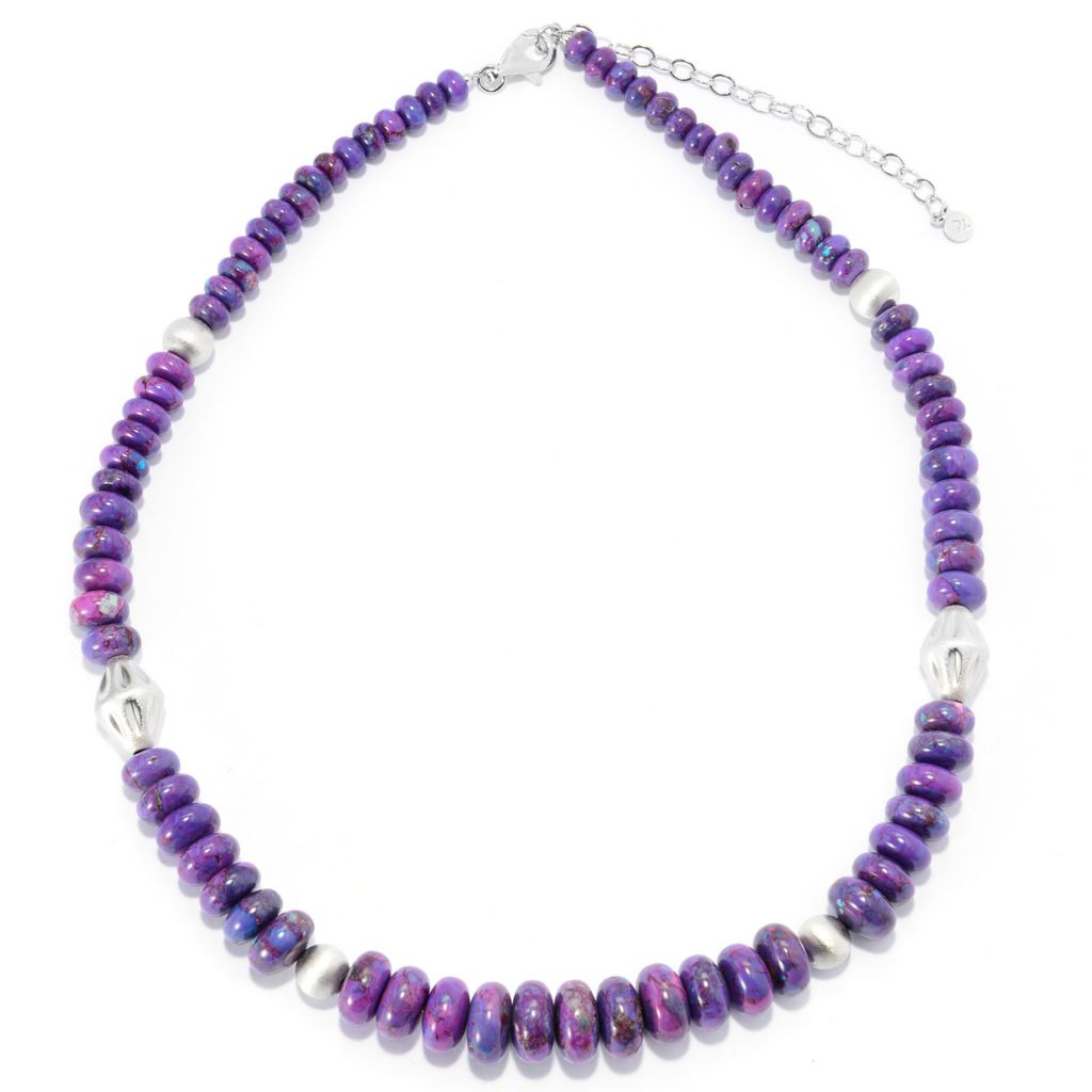 "140-426 - Gem Insider Sterling Silver 18"" Purple Mohave Turquoise Necklace w/ 3"" Extender"