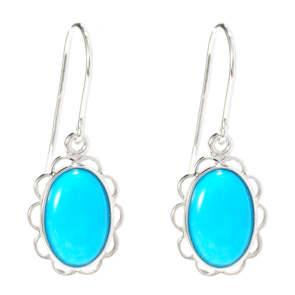 "140-427 - Gem Insider Sterling Silver 1.25"" 12 x 8mm Sleeping Beauty Turquoise Earrings"
