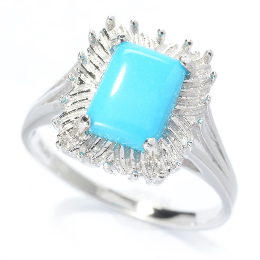 140-428 - Gem Insider Sterling Silver 8 x 6mm Sleeping Beauty Turquoise Frame Ring