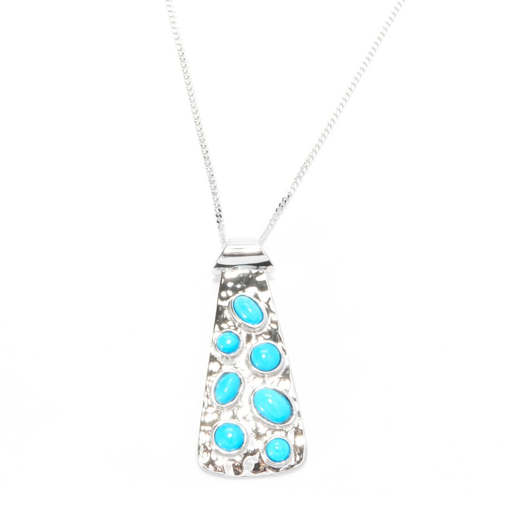 "140-429 - Gem Insider Sterling Silver Sleeping Beauty Turquoise Pendant w/ 18"" Chain"