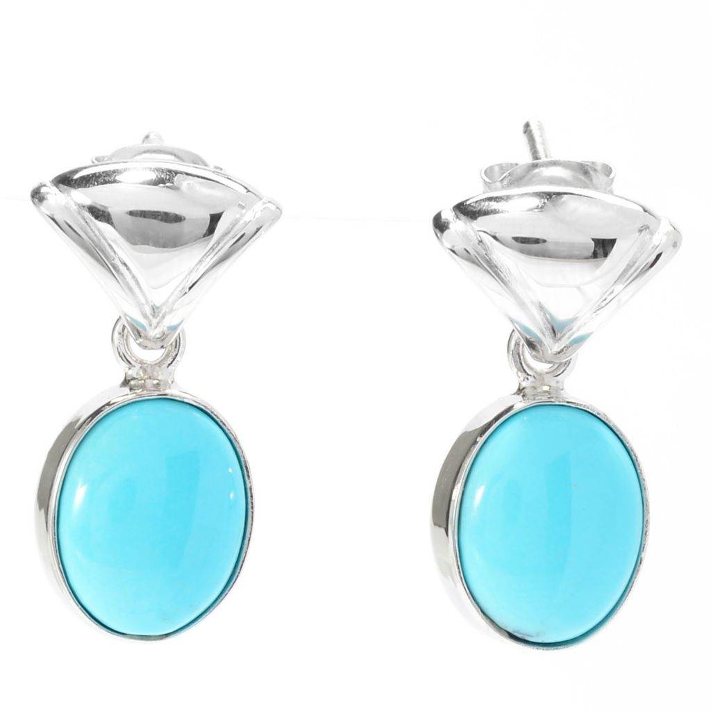 140-430 - Gem Insider Sterling Silver 10 x 8mm Oval Kingman Turquoise Drop Earrings