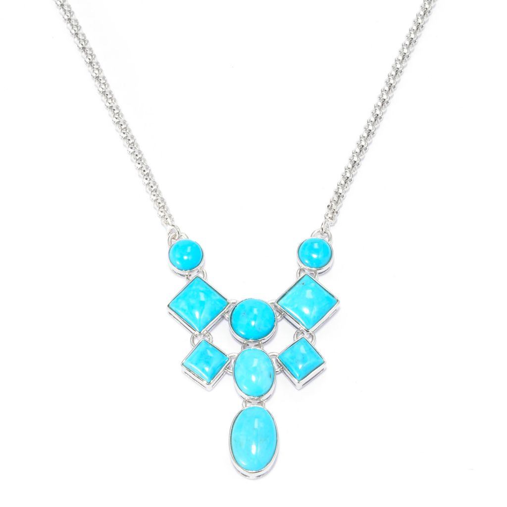 "140-431 - Gem Insider Sterling Silver 17.5"" Multi Shape Kingman Turquoise Drop Necklace"