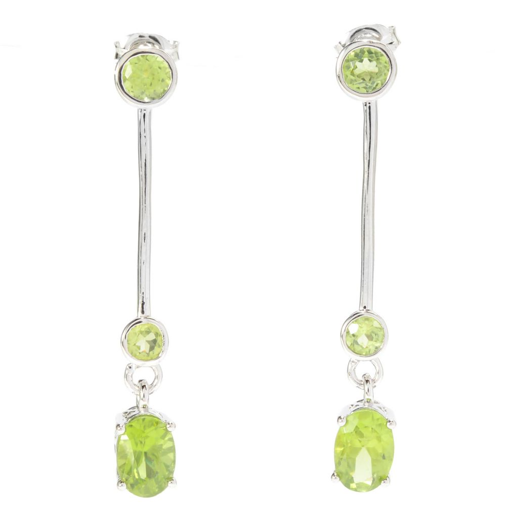 "140-432 - Gem Insider Sterling Silver 1.5"" 2.74ctw Arizona Peridot Drop Earrings"