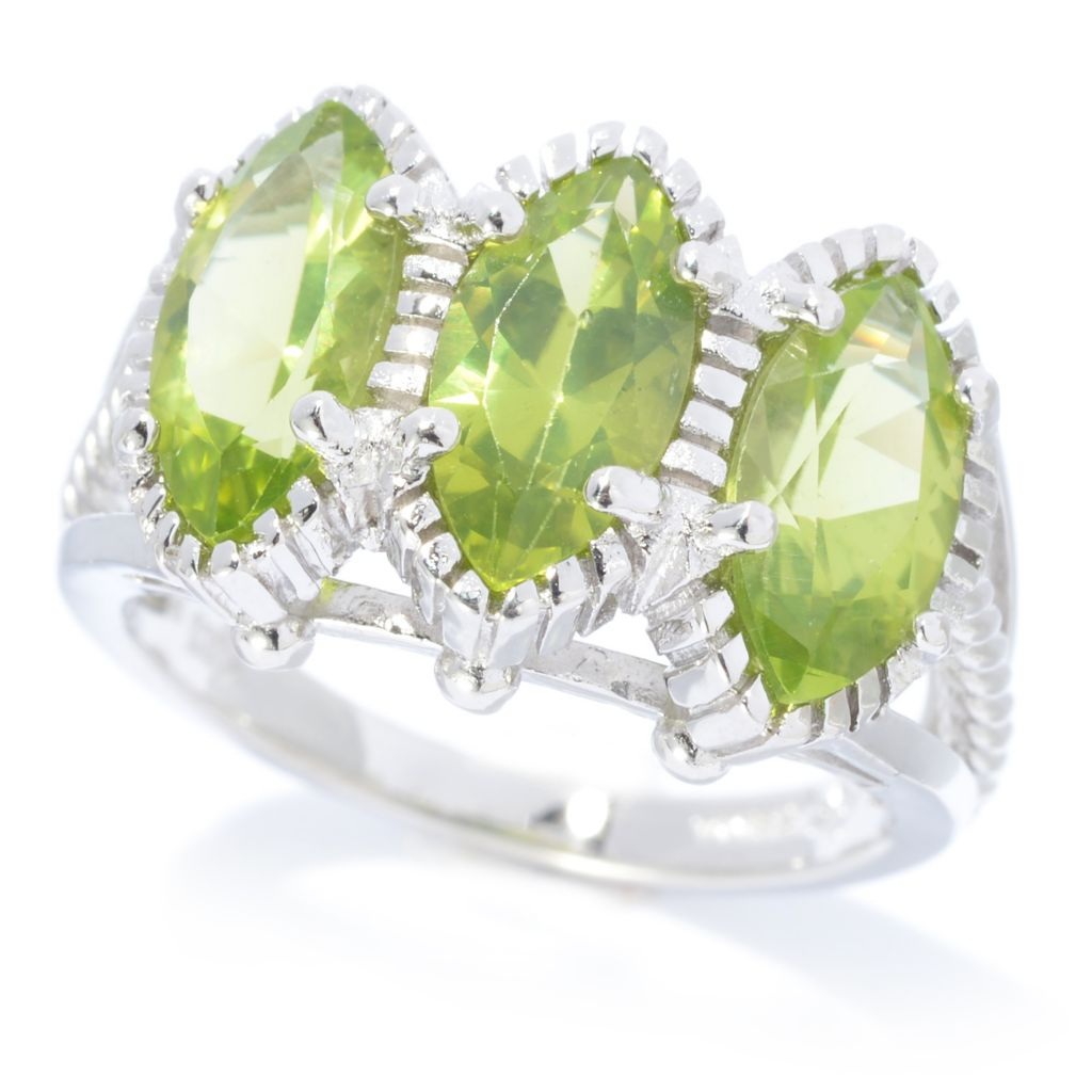 140-434 - Gem Insider Sterling Silver 2.88ctw Marquise Arizona Peridot Three-Stone Ring