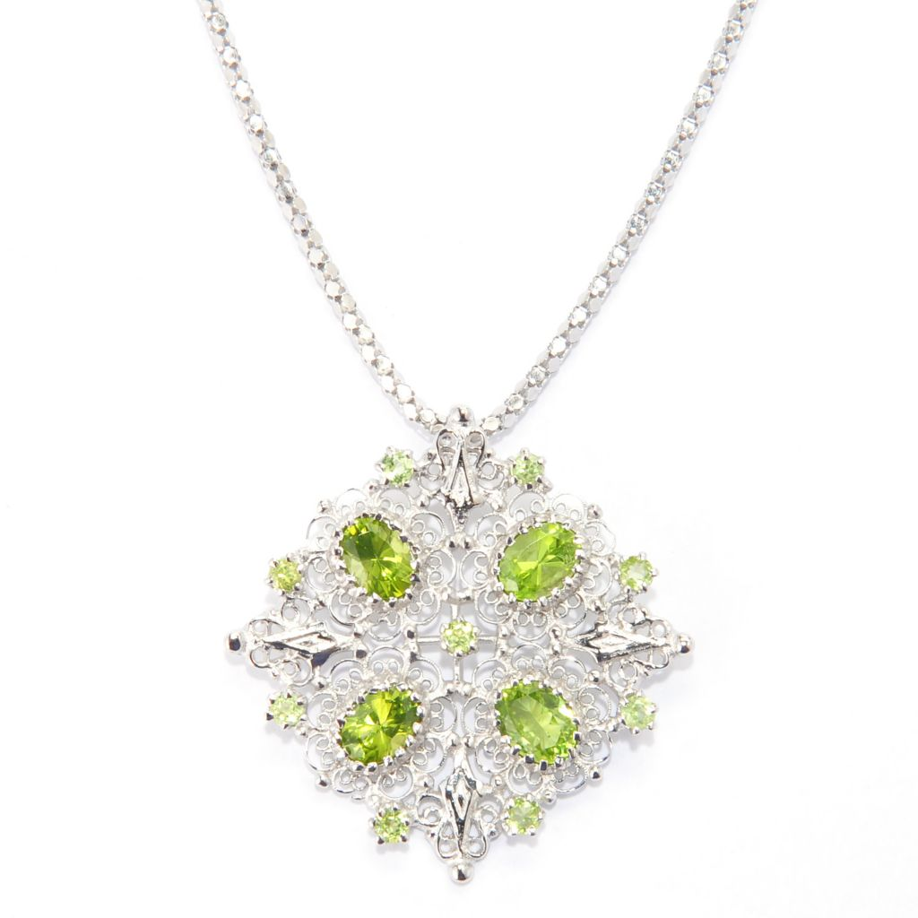 140-435 - Gem Insider Sterling Silver 7.09ctw Arizona Peridot Filigree Pendant w/ Chain