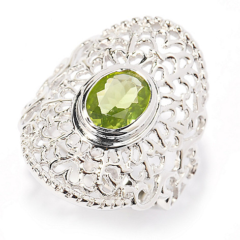 140-436 - Gem Insider™ Sterling Silver 1.45ctw Oval Arizona Peridot Filigree Ring