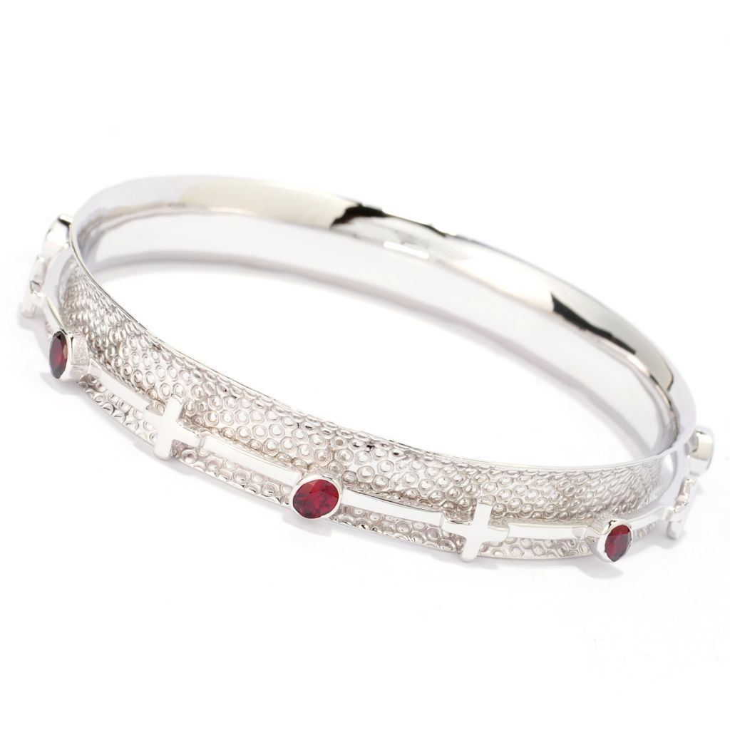 140-437 - Gem Insider Sterling Silver 2.45ctw Arizona Garnet Spinner Bangle Bracelet