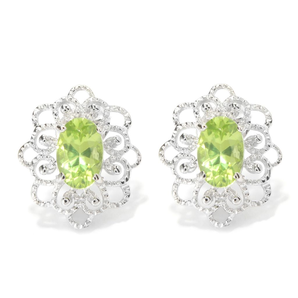 140-438 - Gem Insider Sterling Silver Arizona Peridot Filigree Flower Stud Earrings