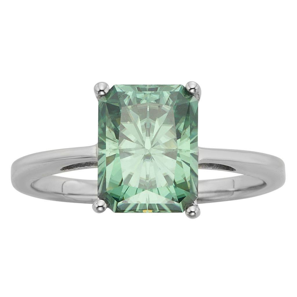 140-439 - Charles & Colvard Platinum embraced™ Color Treated Moissanite Solitaire Ring