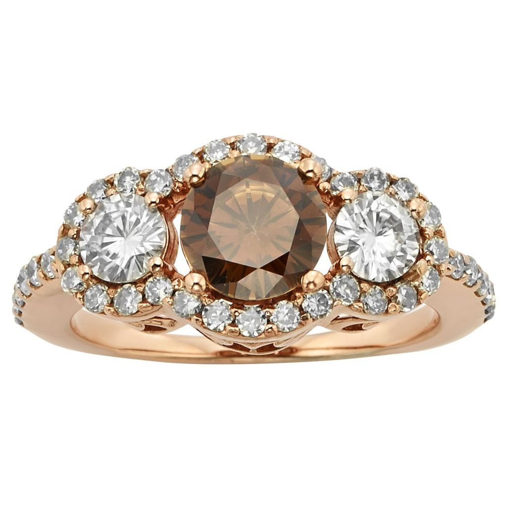 140-441 - Charles & Colvard Moissanite 14K Rose Gold Embraced™ 1.86 DEW Round Three-Stone Halo Ring