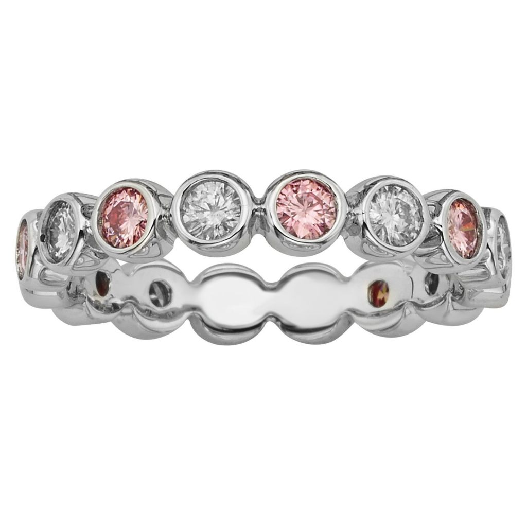 140-448 - Charles & Colvard Colored Moissanite Sterling Silver Round Cut Eternity Band Ring