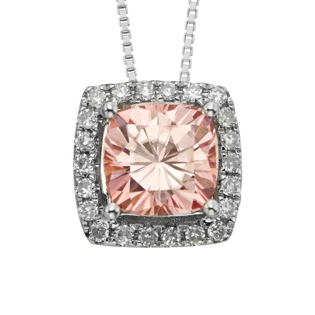 "140-451 - Charles & Colvard Colored Moissanite Cushion Cut Halo Pendant w/ 18"" Chain"