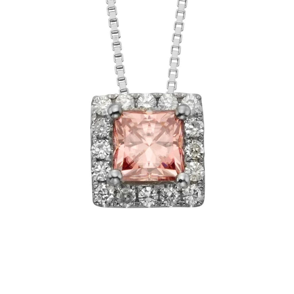 "140-453 - Charles & Colvard Colored Moissanite Sterling Silver Square Cut Halo Pendant w/ 18"" Chain"