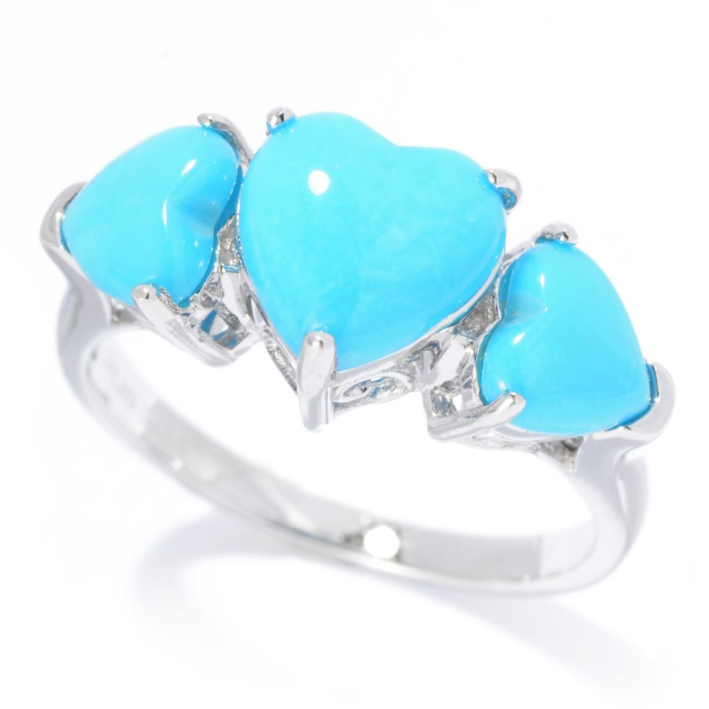 140-456 - Gem Insider Sterling Silver Heart Shaped Sleeping Beauty Turquoise Ring