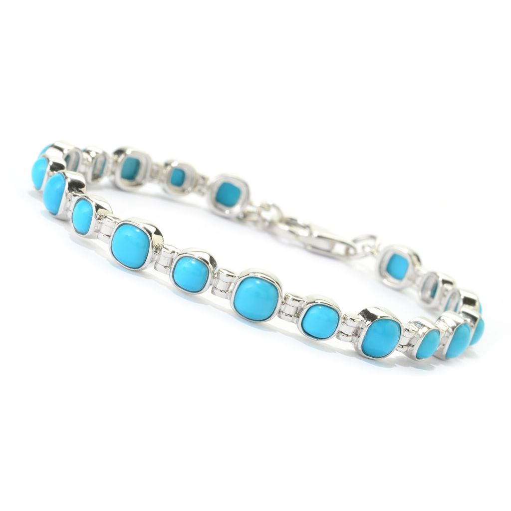 140-457 - Gem Insider Sterling Silver Sleeping Beauty Turquoise Line Bracelet