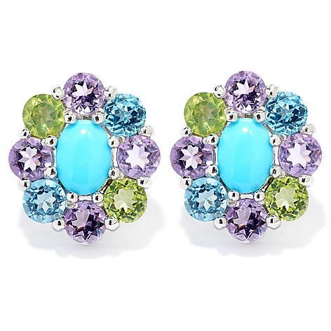 140-458 - Gem Insider™ Sterling Silver Sleeping Beauty Turquoise & Gem Stud Earrings