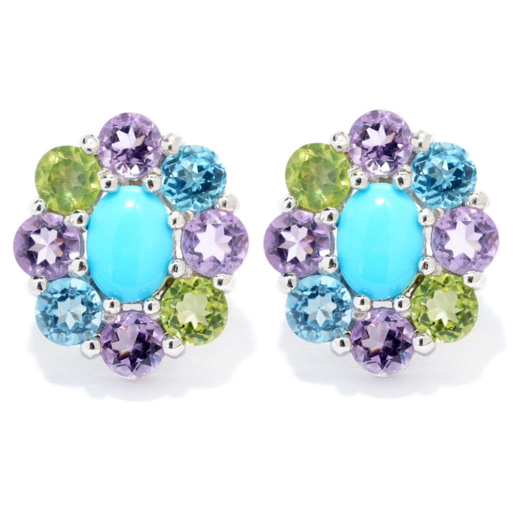 140-458 - Gem Insider Sterling Silver Sleeping Beauty Turquoise & Gem Stud Earrings