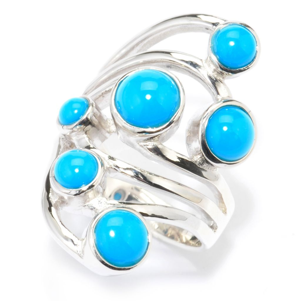 140-459 - Gem Insider Sterling Silver Sleeping Beauty Turquoise Elongated Ring