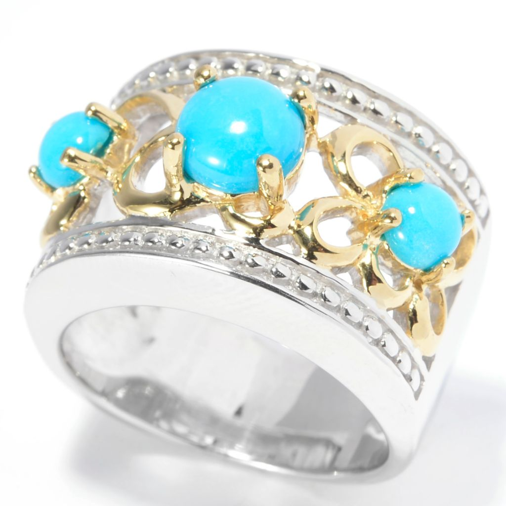 140-460 - Gem Insider Two-tone Sleeping Beauty Turquoise Three-Stone Wide Band Ring