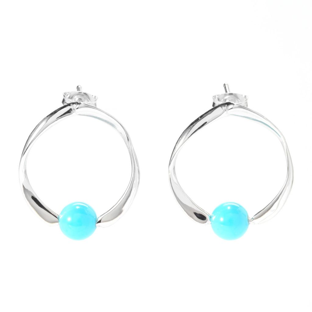 140-463 - Gem Insider Sterling Silver Nevada Lone Mountain Turquoise Circle Earrings